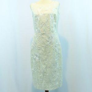 Spiegel Ivory Linen Floral Embroidered Dress